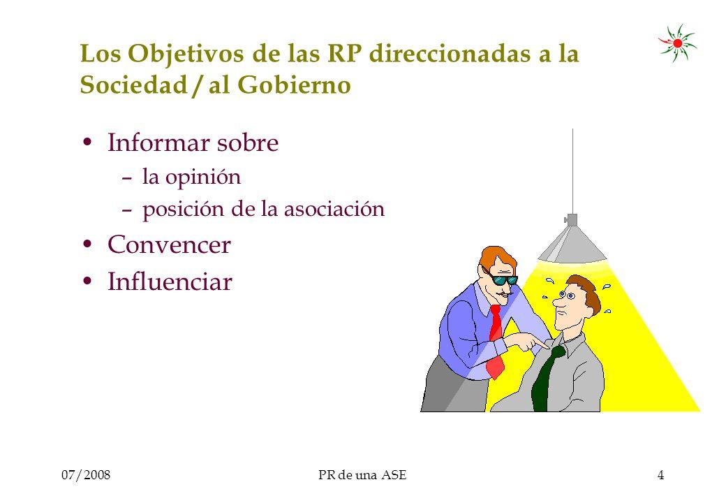 07/2008PR de una ASE4 Los Objetivos de las RP direccionadas a la Sociedad / al Gobierno Informar sobre –la opinión –posición de la asociación Convencer Influenciar