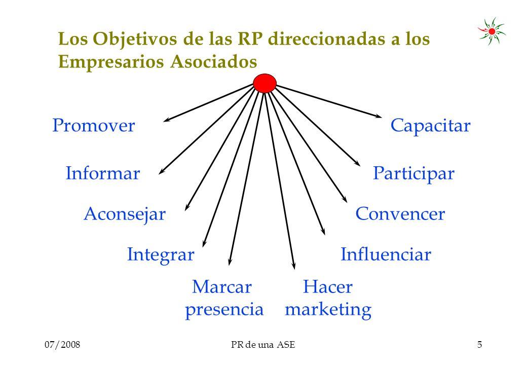 07/2008PR de una ASE5 Los Objetivos de las RP direccionadas a los Empresarios Asociados Promover Informar Aconsejar Integrar Capacitar Convencer Hacer marketing Influenciar Participar Marcar presencia