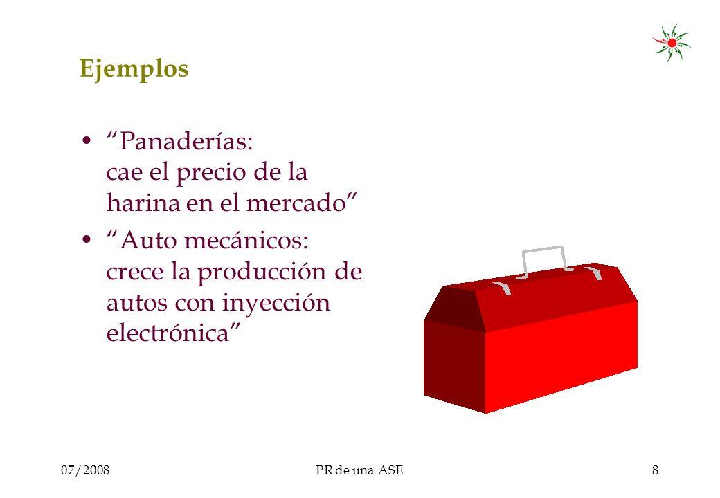07/2008PR de una ASE8 Ejemplos Panaderías: cae el precio de la harina en el mercado Auto mecánicos: crece la producción de autos con inyección electrónica