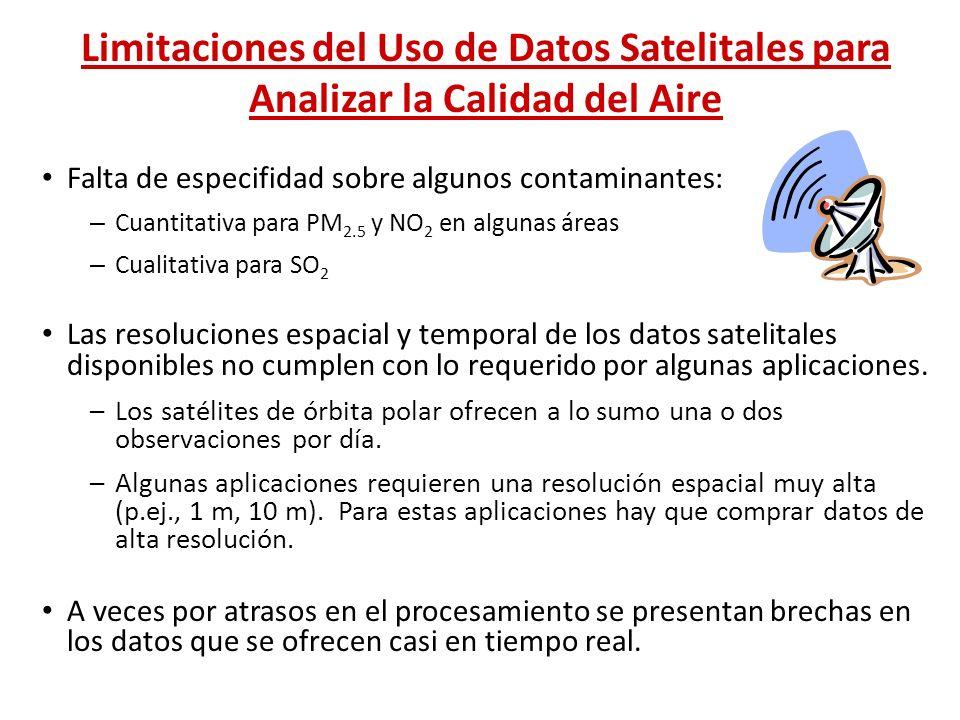 Limitaciones del Uso de Datos Satelitales para Analizar la Calidad del Aire Falta de especifidad sobre algunos contaminantes: – Cuantitativa para PM 2