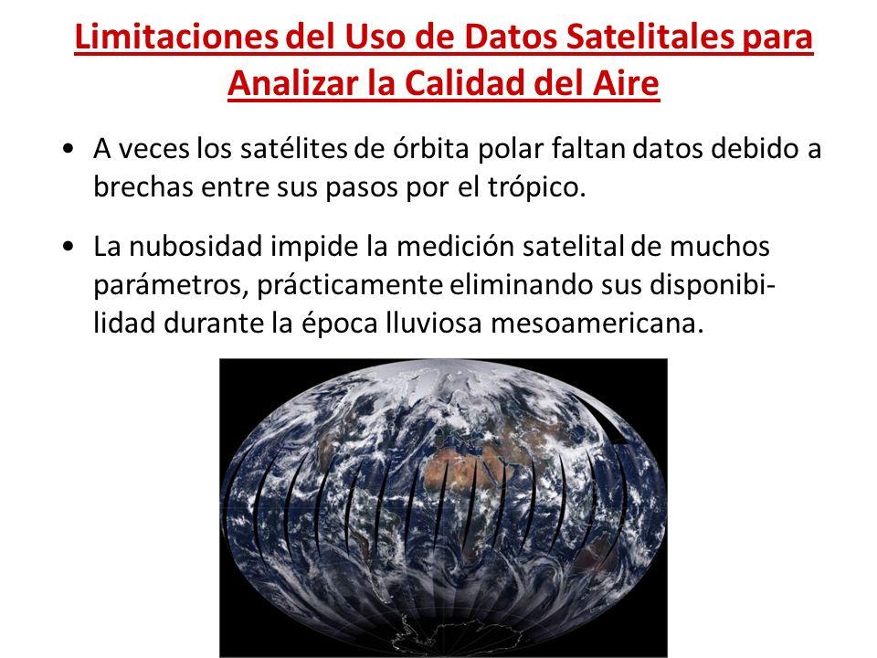 Limitaciones del Uso de Datos Satelitales para Analizar la Calidad del Aire A veces los satélites de órbita polar faltan datos debido a brechas entre