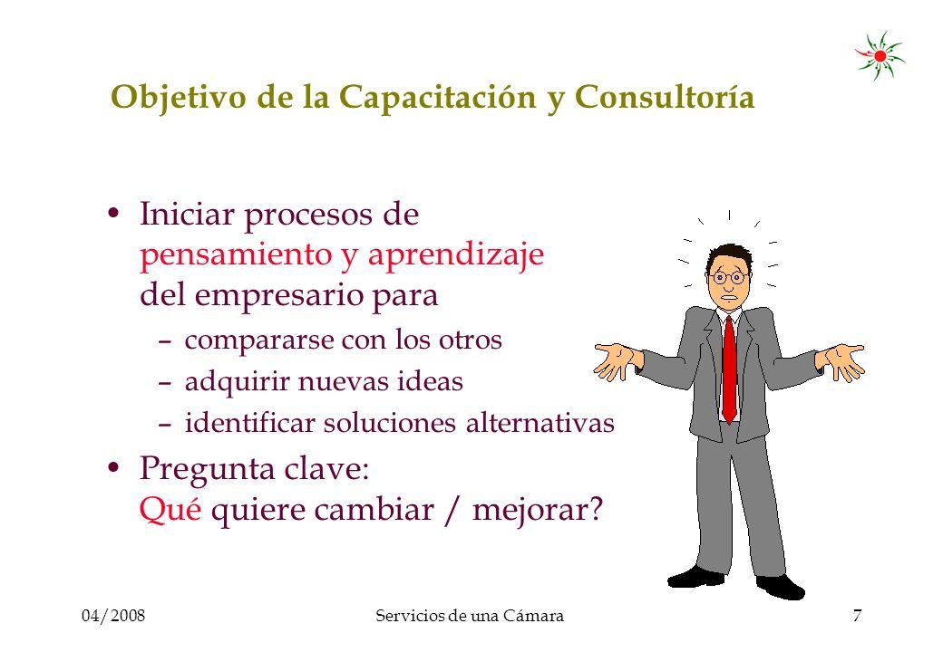 04/2008Servicios de una Cámara8 Objetivo de la Capacitación y Consultaría Ayudar al empresario a realizar cambios en su empresa Pregunta clave: Cómo hacerlo?