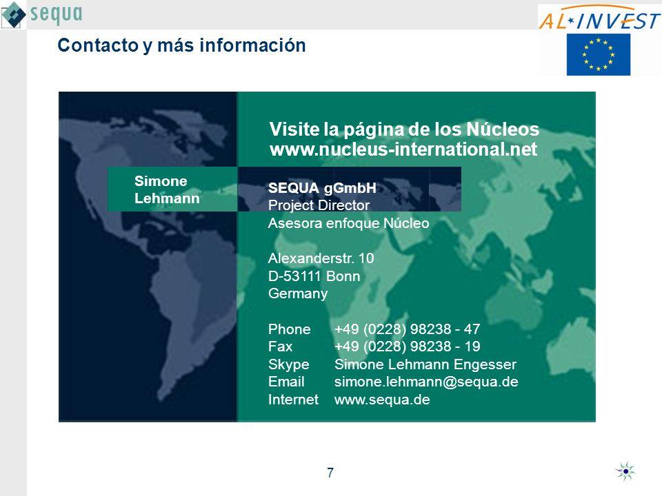 7 Contacto y más información SEQUA gGmbH Project Director Asesora enfoque Núcleo Alexanderstr.