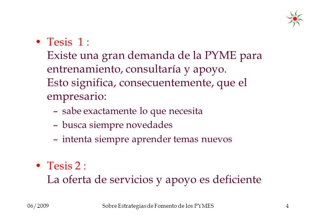 06/2009Sobre Estrategias de Fomento de los PYMES4 Tesis 1 : Existe una gran demanda de la PYME para entrenamiento, consultaría y apoyo.