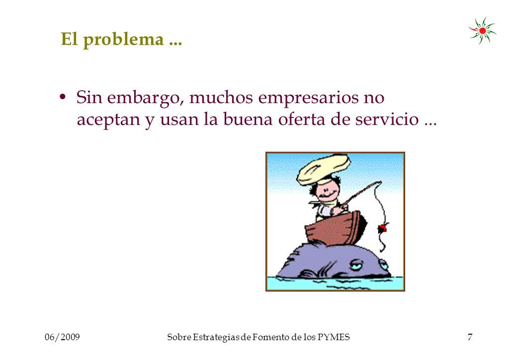 06/2009Sobre Estrategias de Fomento de los PYMES7 El problema...