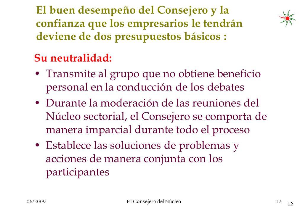06/2009El Consejero del Núcleo12 El buen desempeño del Consejero y la confianza que los empresarios le tendrán deviene de dos presupuestos básicos : S