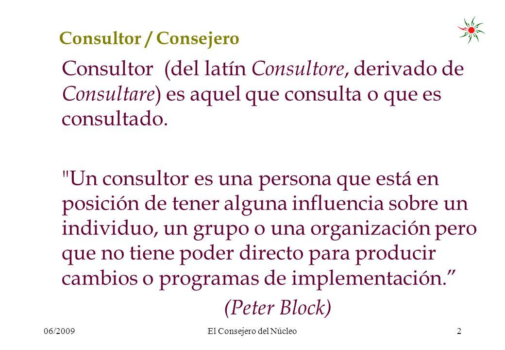 06/2009El Consejero del Núcleo2 Consultor / Consejero Consultor (del latín Consultore, derivado de Consultare ) es aquel que consulta o que es consultado.