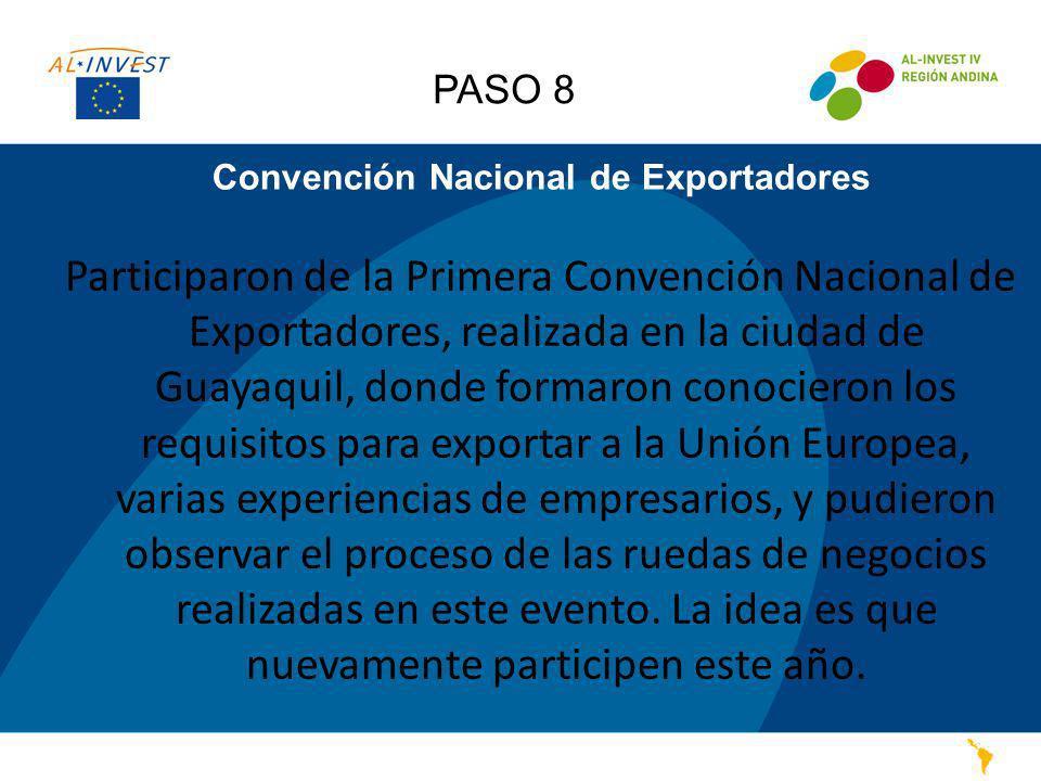 Convención Nacional de Exportadores Participaron de la Primera Convención Nacional de Exportadores, realizada en la ciudad de Guayaquil, donde formaro