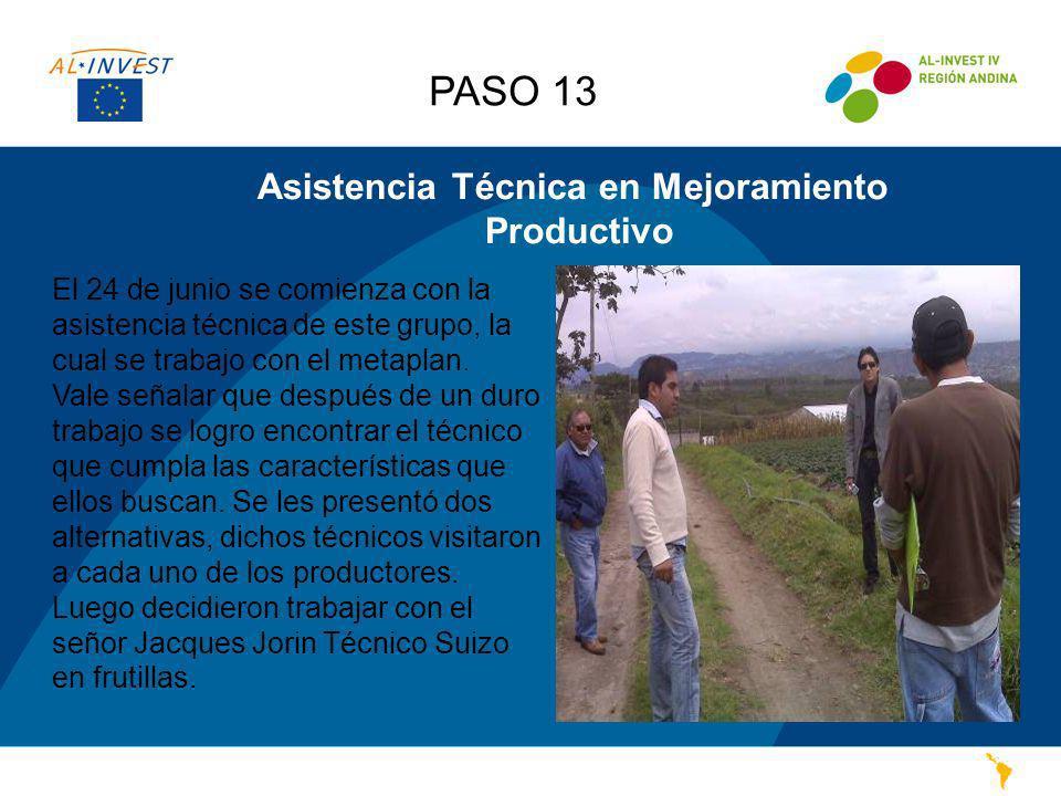 Asistencia Técnica en Mejoramiento Productivo El 24 de junio se comienza con la asistencia técnica de este grupo, la cual se trabajo con el metaplan.