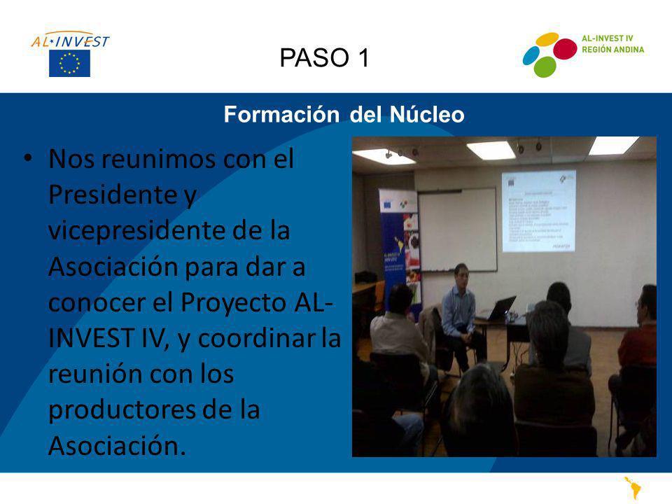 Formación del Núcleo Nos reunimos con el Presidente y vicepresidente de la Asociación para dar a conocer el Proyecto AL- INVEST IV, y coordinar la reu