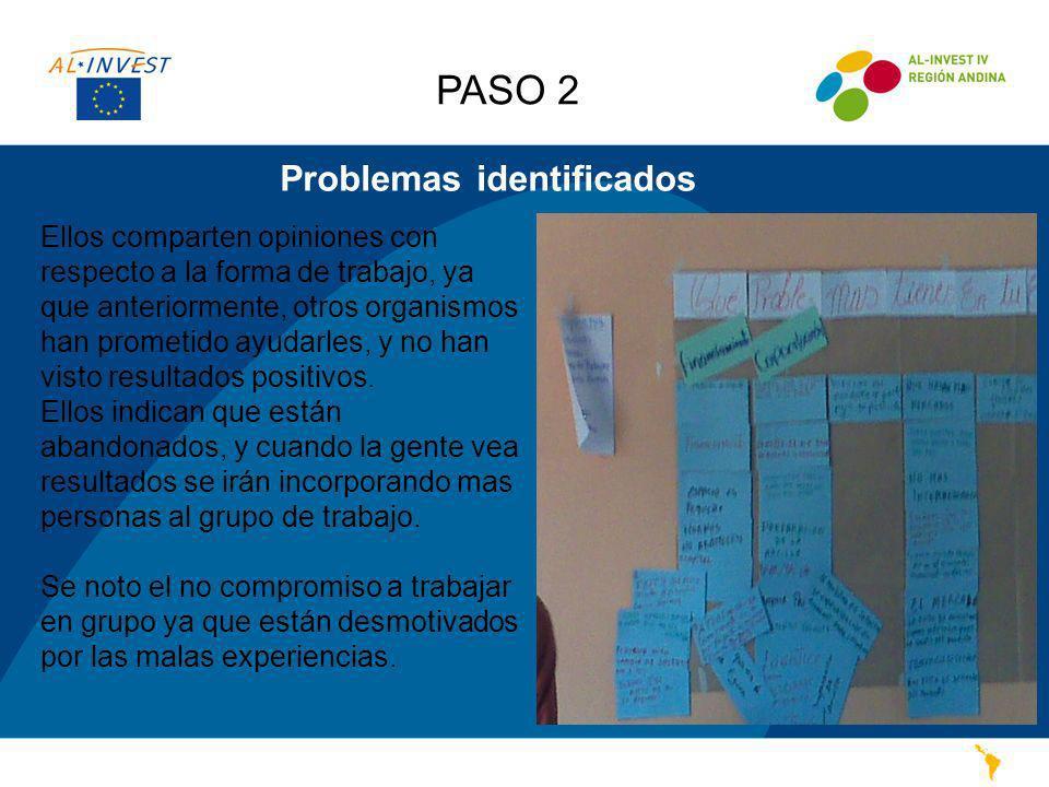 Problemas identificados PASO 2 Ellos comparten opiniones con respecto a la forma de trabajo, ya que anteriormente, otros organismos han prometido ayud