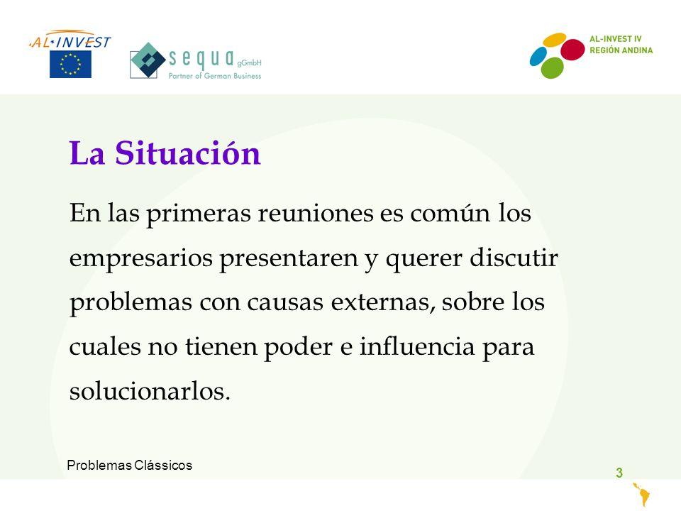 Problemas Clássicos 3 La Situación En las primeras reuniones es común los empresarios presentaren y querer discutir problemas con causas externas, sobre los cuales no tienen poder e influencia para solucionarlos.