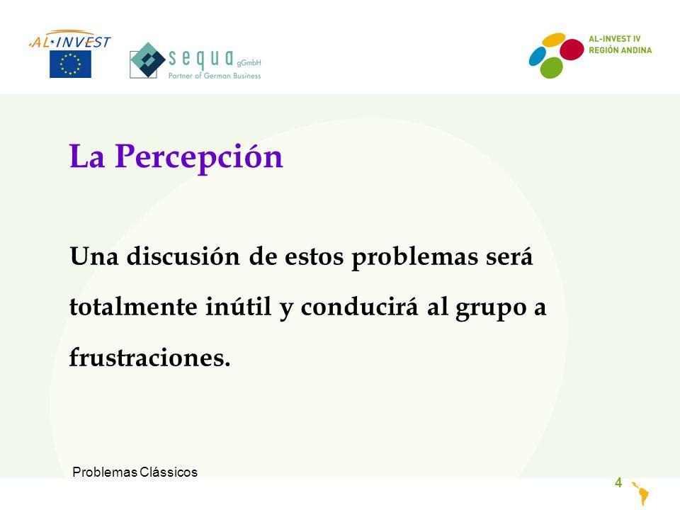 Problemas Clássicos 4 La Percepción Una discusión de estos problemas será totalmente inútil y conducirá al grupo a frustraciones.