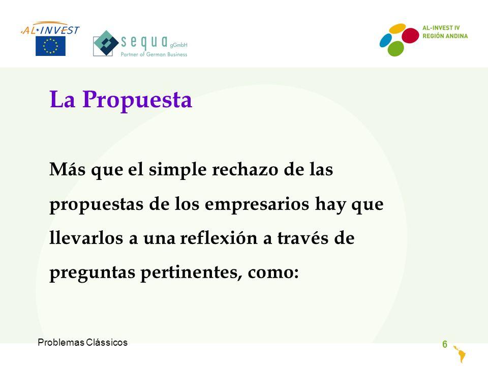 Problemas Clássicos 6 La Propuesta Más que el simple rechazo de las propuestas de los empresarios hay que llevarlos a una reflexión a través de preguntas pertinentes, como: