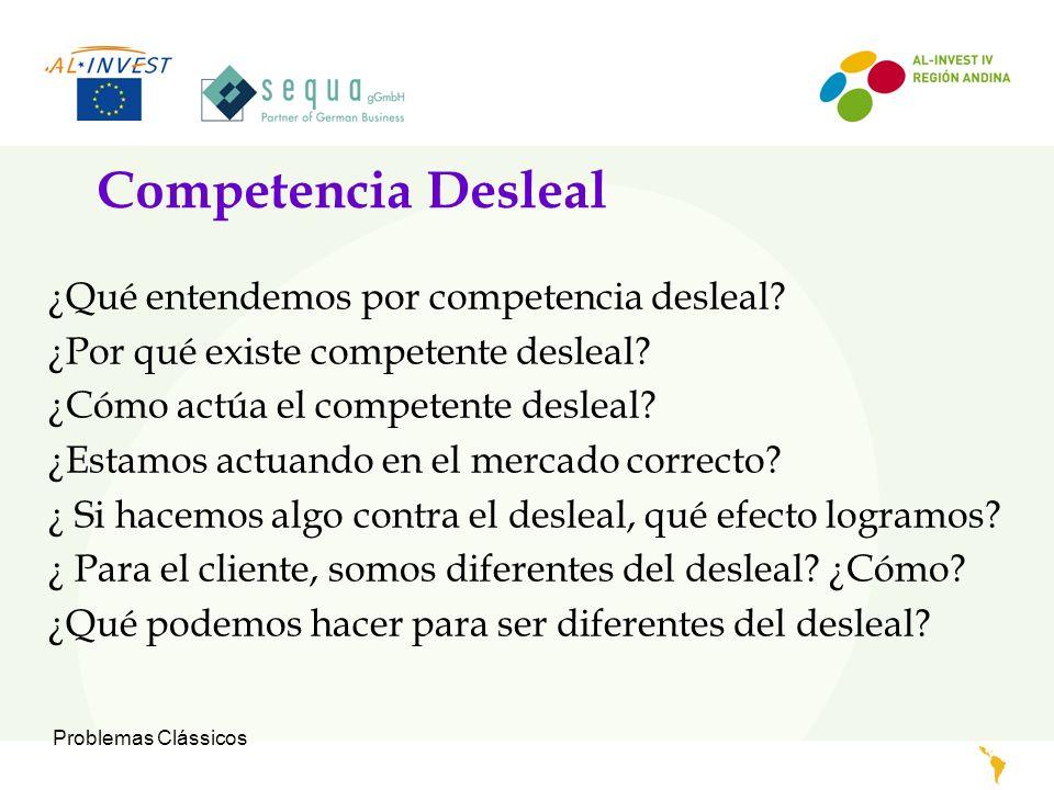 Problemas Clássicos Competencia Desleal ¿Qué entendemos por competencia desleal? ¿Por qué existe competente desleal? ¿Cómo actúa el competente desleal