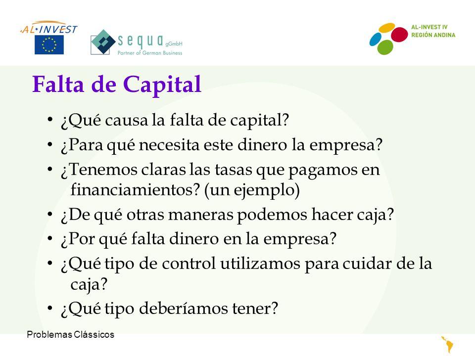 Problemas Clássicos Falta de Capital ¿ Qué causa la falta de capital? ¿Para qué necesita este dinero la empresa? ¿Tenemos claras las tasas que pagamos