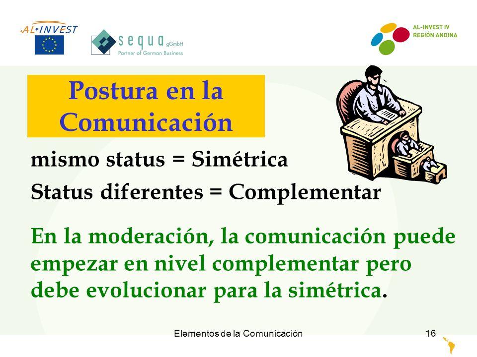 Elementos de la Comunicación17 Postura en la Comunicación Solamente el Moderador fracasado / inseguro intimida conscientemente a los participantes durante una actividad, para producir artificialmente una comunicación complementar.