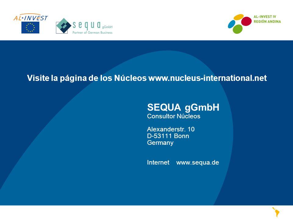 SEQUA gGmbH Consultor Núcleos Alexanderstr. 10 D-53111 Bonn Germany Internetwww.sequa.de Visite la página de los Núcleos www.nucleus-international.net