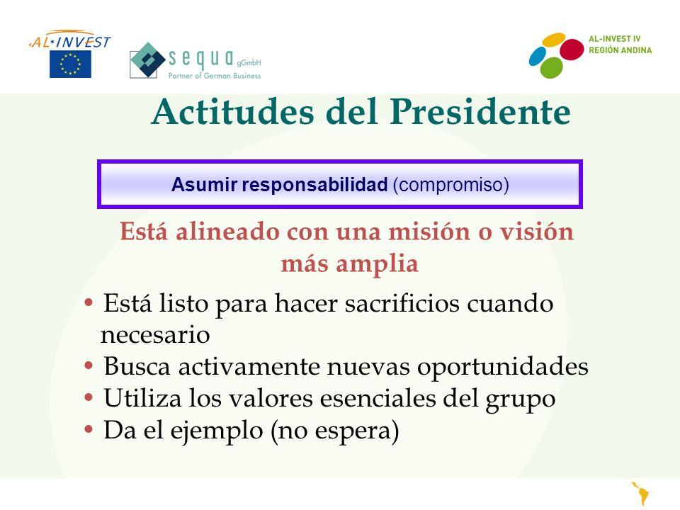 Actitudes del Presidente Asumir responsabilidad (compromiso) Está alineado con una misión o visión más amplia Está listo para hacer sacrificios cuando