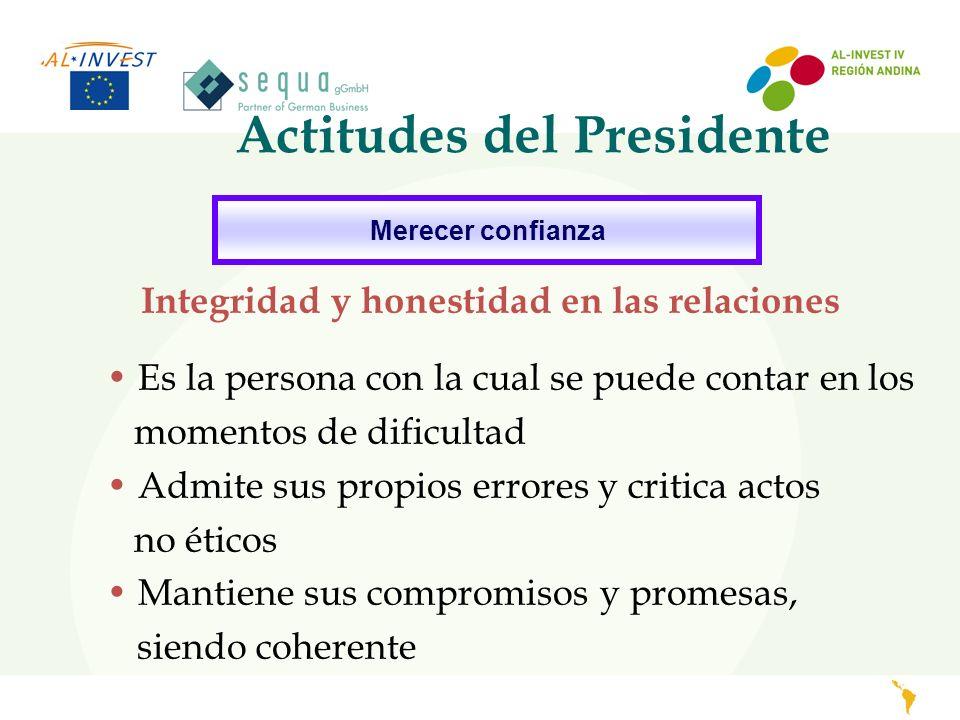 Actitudes del Presidente Merecer confianza Integridad y honestidad en las relaciones Es la persona con la cual se puede contar en los momentos de difi
