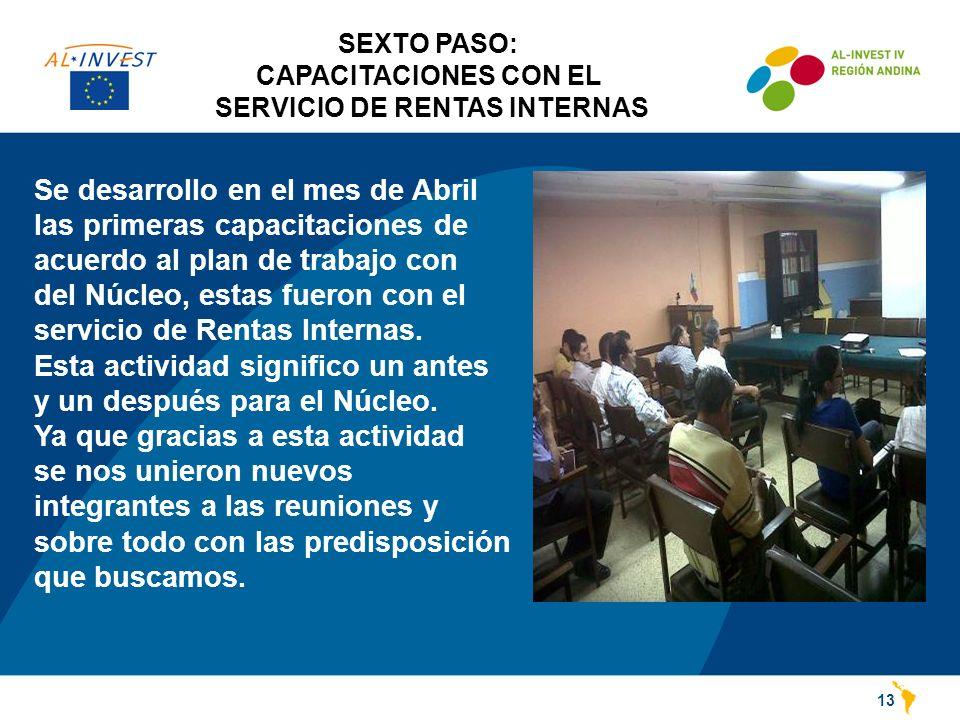 SEXTO PASO: CAPACITACIONES CON EL SERVICIO DE RENTAS INTERNAS 13 Se desarrollo en el mes de Abril las primeras capacitaciones de acuerdo al plan de trabajo con del Núcleo, estas fueron con el servicio de Rentas Internas.