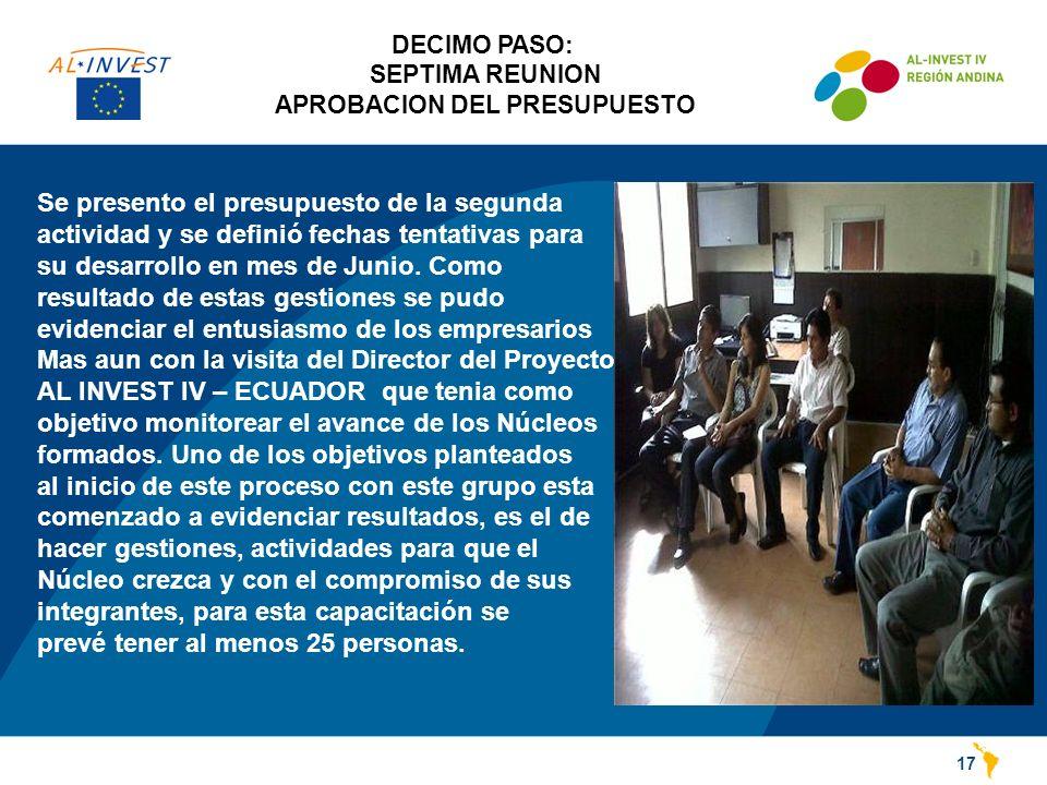 DECIMO PASO: SEPTIMA REUNION APROBACION DEL PRESUPUESTO 17 Se presento el presupuesto de la segunda actividad y se definió fechas tentativas para su desarrollo en mes de Junio.
