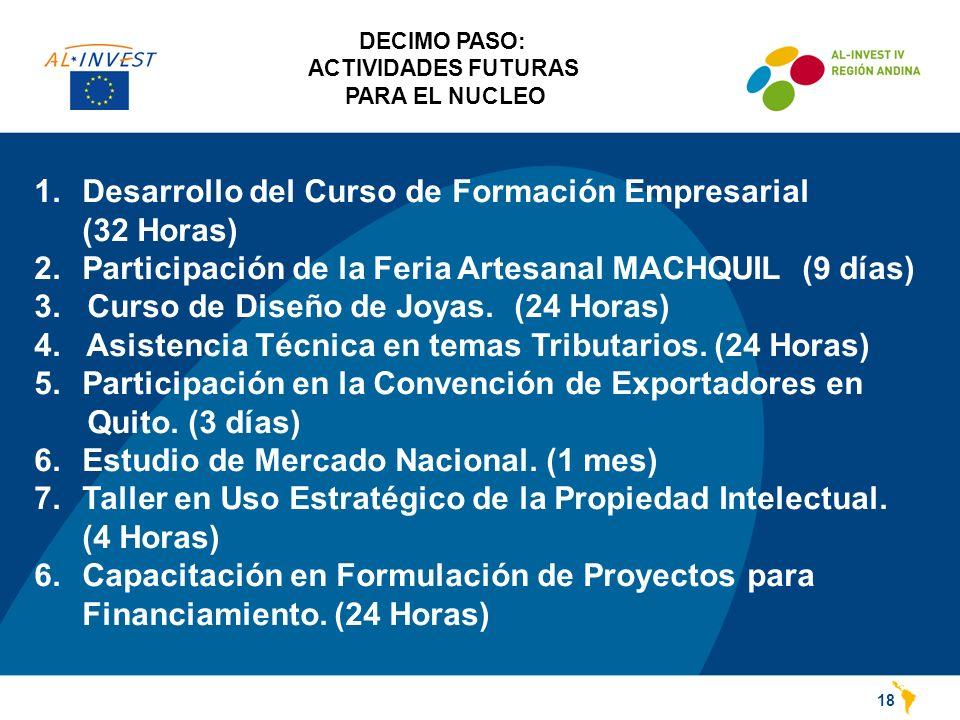 DECIMO PASO: ACTIVIDADES FUTURAS PARA EL NUCLEO 18 1.Desarrollo del Curso de Formación Empresarial (32 Horas) 2.Participación de la Feria Artesanal MACHQUIL (9 días) 3.