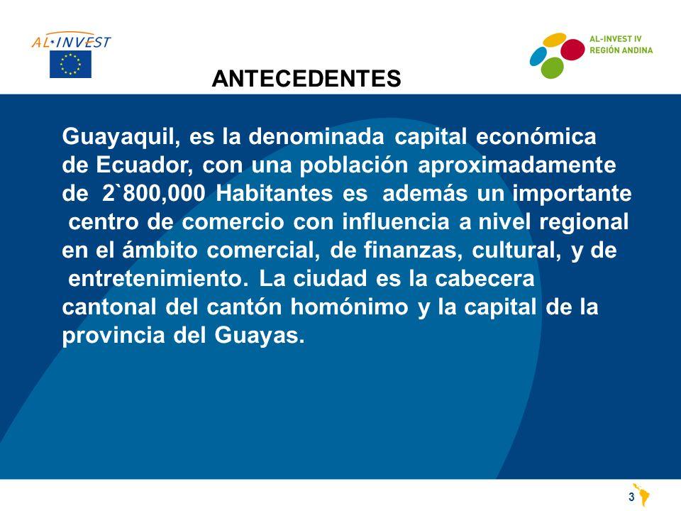 ANTECEDENTES 3 Guayaquil, es la denominada capital económica de Ecuador, con una población aproximadamente de 2`800,000 Habitantes es además un importante centro de comercio con influencia a nivel regional en el ámbito comercial, de finanzas, cultural, y de entretenimiento.
