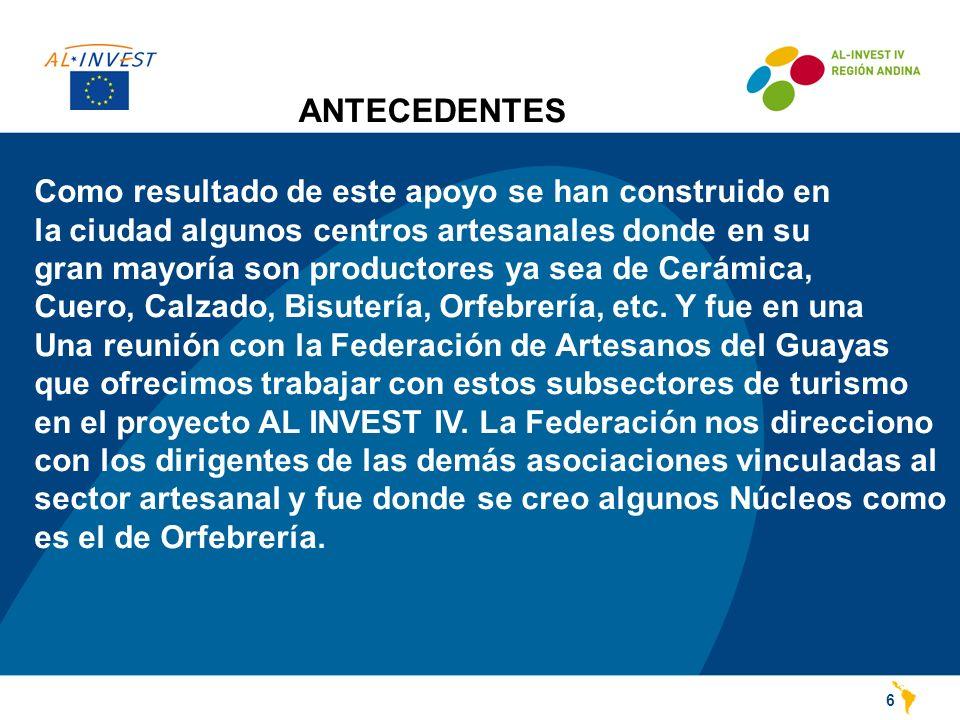 ANTECEDENTES 6 Como resultado de este apoyo se han construido en la ciudad algunos centros artesanales donde en su gran mayoría son productores ya sea de Cerámica, Cuero, Calzado, Bisutería, Orfebrería, etc.