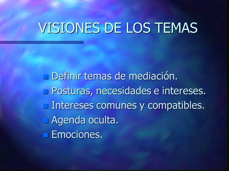 VISIONES DE LOS TEMAS n Definir temas de mediación.