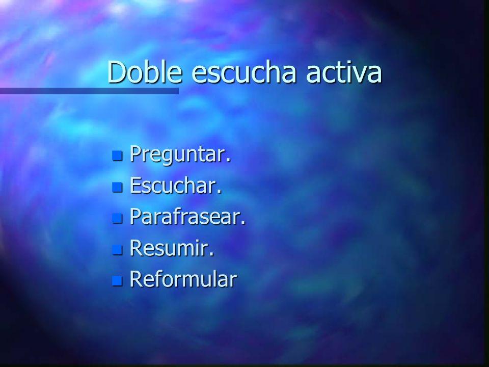 Doble escucha activa n Preguntar. n Escuchar. n Parafrasear. n Resumir. n Reformular