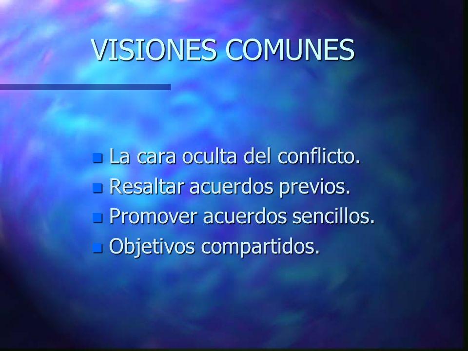 VISIONES COMUNES n La cara oculta del conflicto.n Resaltar acuerdos previos.