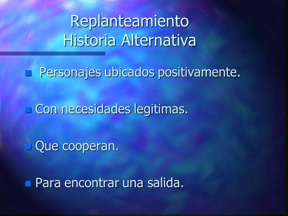 Replanteamiento Historia Alternativa n Personajes ubicados positivamente.