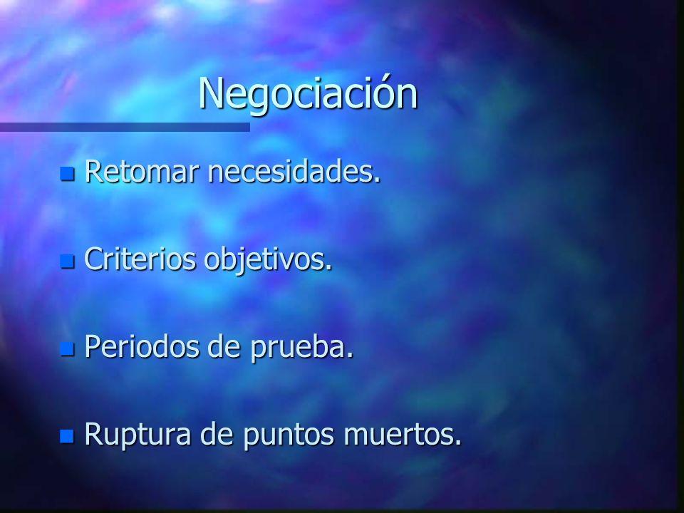 Negociación n Retomar necesidades.n Criterios objetivos.