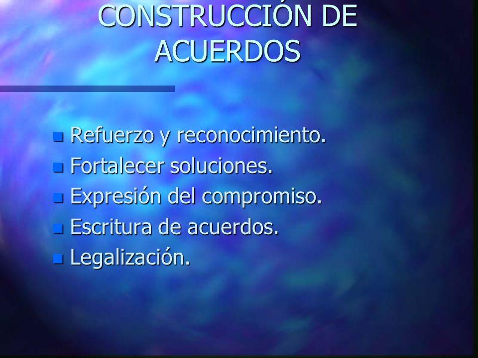 CONSTRUCCIÓN DE ACUERDOS n Refuerzo y reconocimiento.