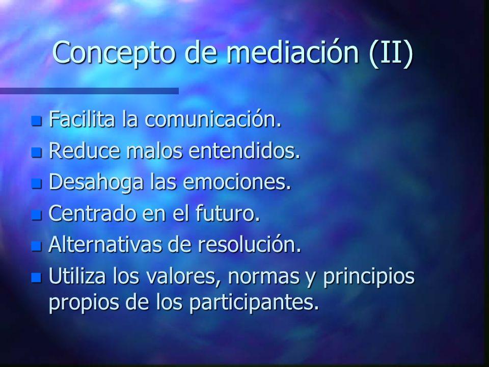 Concepto de mediación (II) n Facilita la comunicación.
