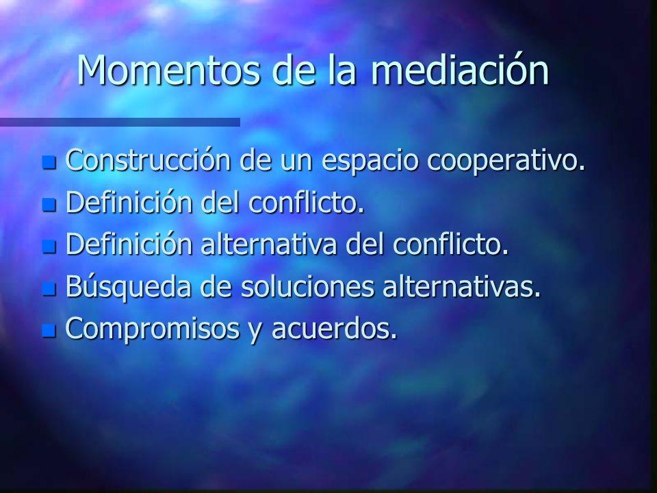 Momentos de la mediación n Construcción de un espacio cooperativo.