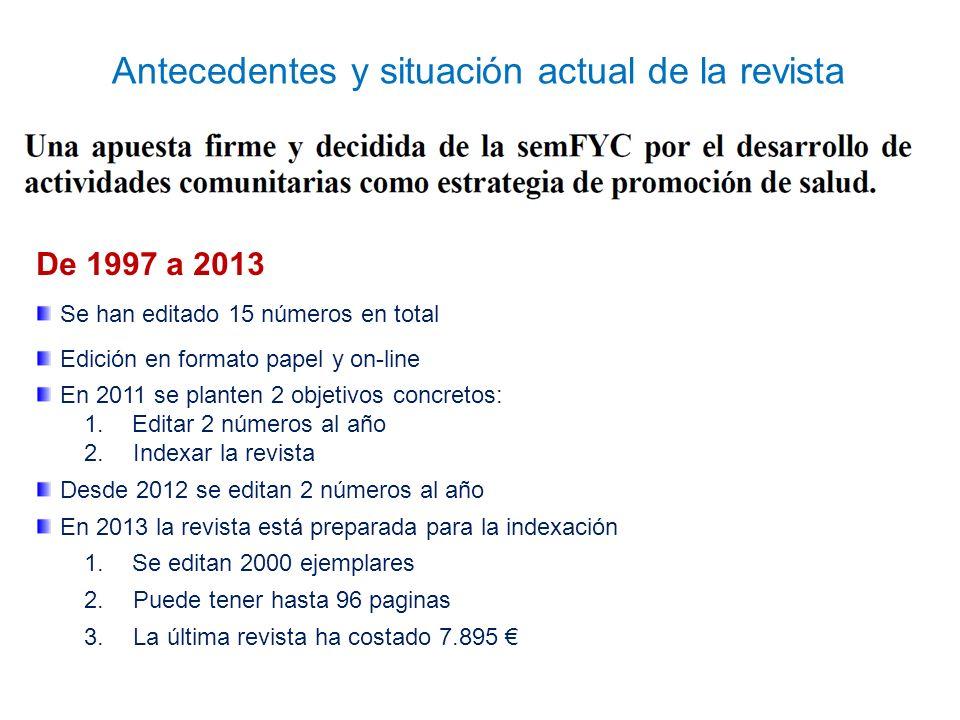 De 1997 a 2013 Se han editado 15 números en total Edición en formato papel y on-line En 2011 se planten 2 objetivos concretos: 1.Editar 2 números al año 2.