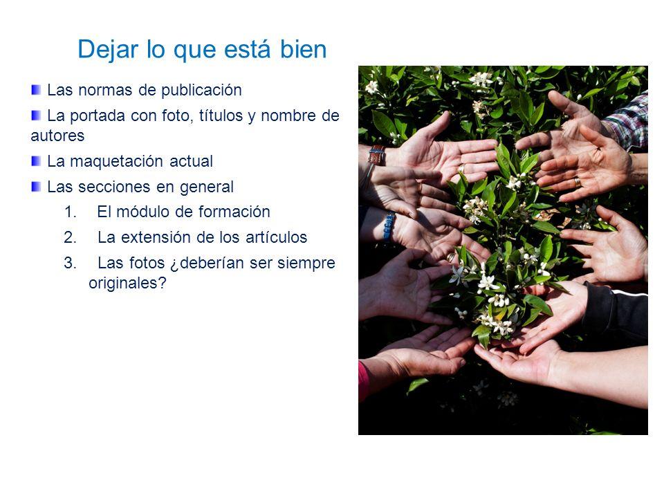 Dejar lo que está bien Las normas de publicación La portada con foto, títulos y nombre de autores La maquetación actual Las secciones en general 1.El módulo de formación 2.