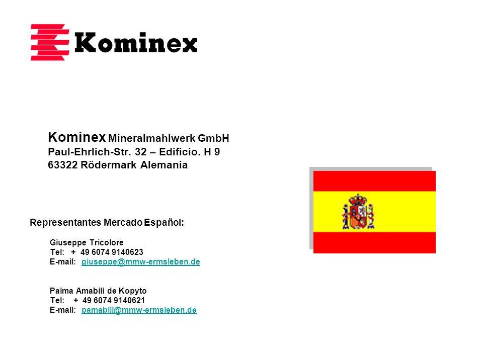 Kominex Mineralmahlwerk GmbH Paul-Ehrlich-Str. 32 – Edificio. H 9 63322 Rödermark Alemania Representantes Mercado Español: Giuseppe Tricolore Tel: + 4