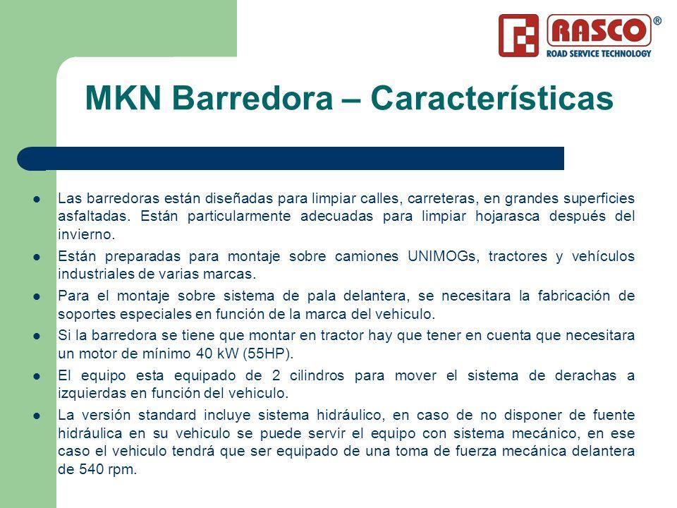 MKN Barredora – Características Las barredoras están diseñadas para limpiar calles, carreteras, en grandes superficies asfaltadas. Están particularmen