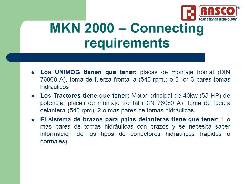 MKN 2000 – Connecting requirements Los UNIMOG tienen que tener: placas de montaje frontal (DIN 76060 A), toma de fuerza frontal a (540 rpm.) o 3 or 3