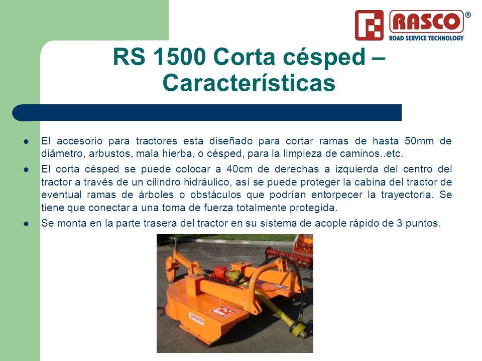 RS 1500 Corta césped – Características El accesorio para tractores esta diseñado para cortar ramas de hasta 50mm de diámetro, arbustos, mala hierba, o