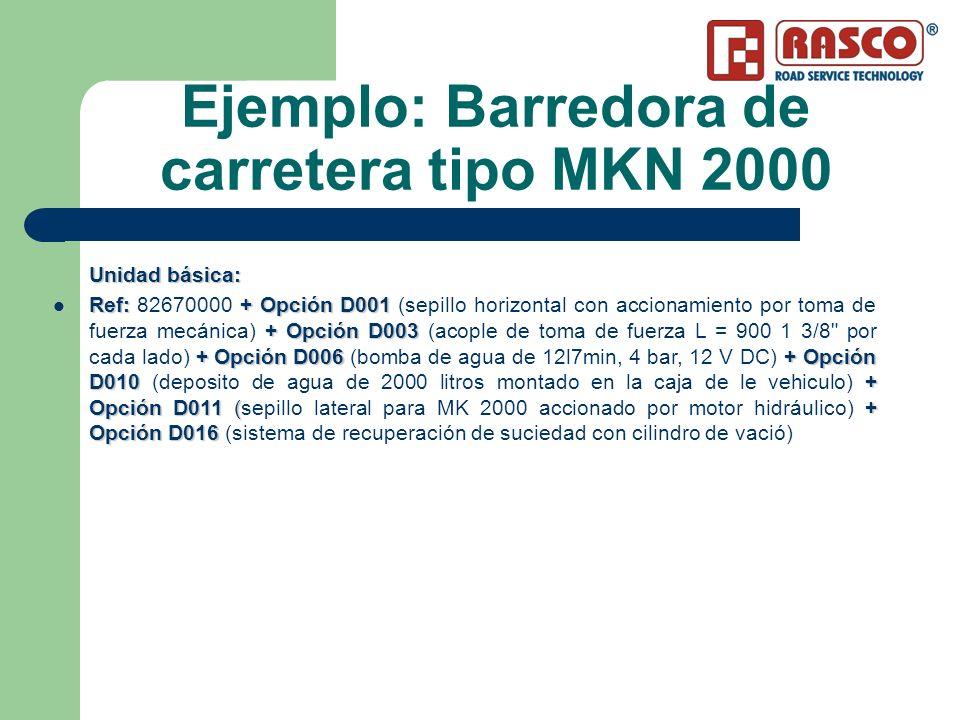 Ejemplo: Barredora de carretera tipo MKN 2000 Unidad básica: Ref: + Opción D001 +Opción D003 +Opción D006 +Opción D010 + Opción D011 (+ Opción D016 Re