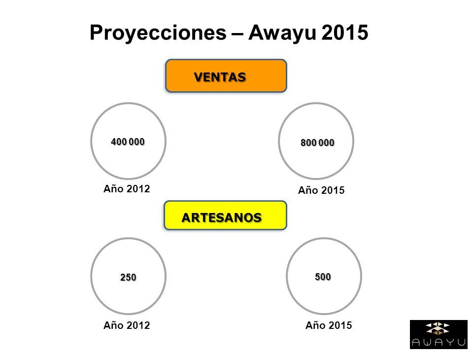 Proyecciones – Awayu 2015 VENTAS ARTESANOS Año 2012 400 000 Año 2012 Año 2015 800 000 500 250