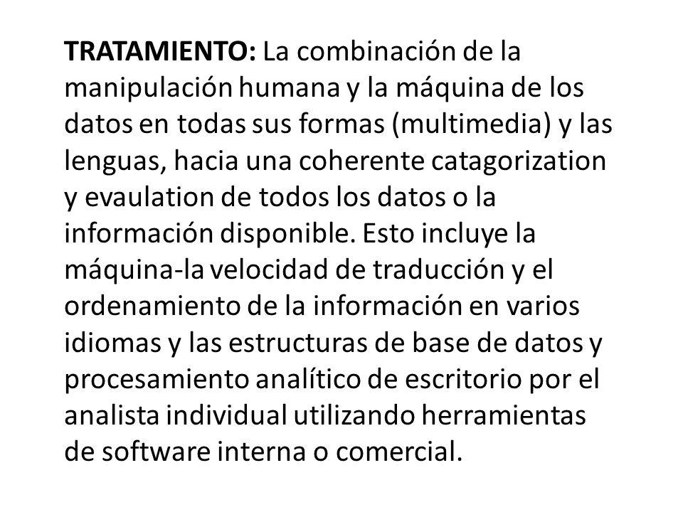 TRATAMIENTO: La combinación de la manipulación humana y la máquina de los datos en todas sus formas (multimedia) y las lenguas, hacia una coherente catagorization y evaulation de todos los datos o la información disponible.