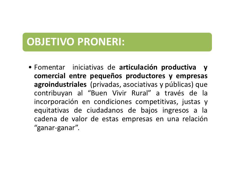 OBJETIVO PRONERI: Fomentar iniciativas de articulación productiva y comercial entre pequeños productores y empresas agroindustriales (privadas, asocia