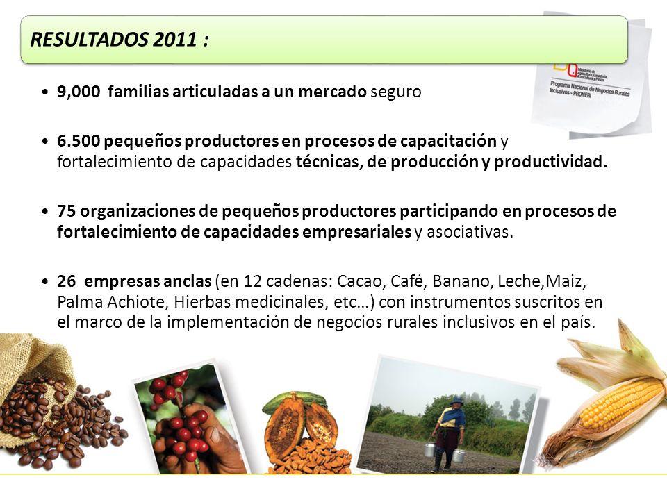 RESULTADOS 2011 : 9,000 familias articuladas a un mercado seguro 6.500 pequeños productores en procesos de capacitación y fortalecimiento de capacidad