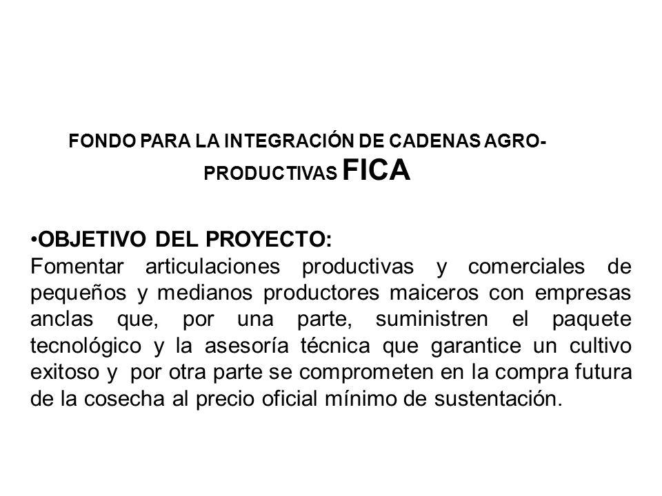 FONDO PARA LA INTEGRACIÓN DE CADENAS AGRO- PRODUCTIVAS FICA OBJETIVO DEL PROYECTO: Fomentar articulaciones productivas y comerciales de pequeños y med