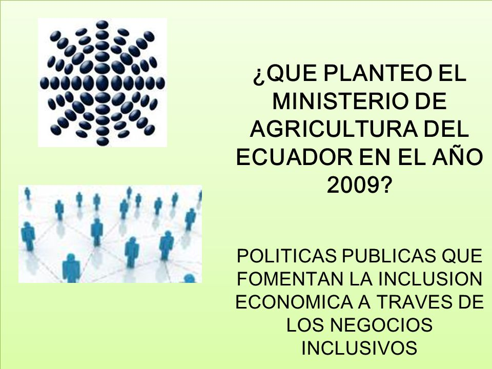 ¿QUE PLANTEO EL MINISTERIO DE AGRICULTURA DEL ECUADOR EN EL AÑO 2009? POLITICAS PUBLICAS QUE FOMENTAN LA INCLUSION ECONOMICA A TRAVES DE LOS NEGOCIOS